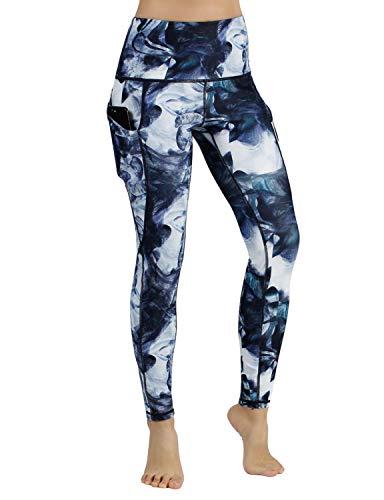 ODODODOS High Waist Out Pocket Printed Yoga Pants Tummy Control Workout Running 4 Way Stretch Yoga Leggings,CrosstalkNavy,Large