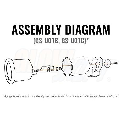 amazon com glowshift universal single gauge metal pod automotive