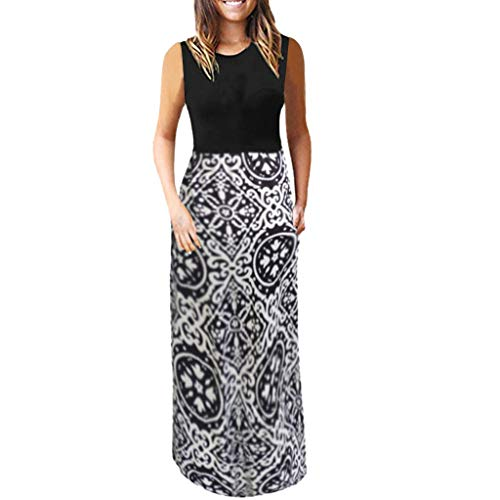 BODOAO Fashion Women Ladies Print Causal Sleeveless Camisole Dress O-Neck Summer Dress ()
