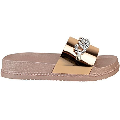 Womens Chain Platform Sole Metallic Rose Thirsty Metallic Flatforms Sliders Diamante Sandals Pink Flat Fashion Gold Size Summer Yt5qa