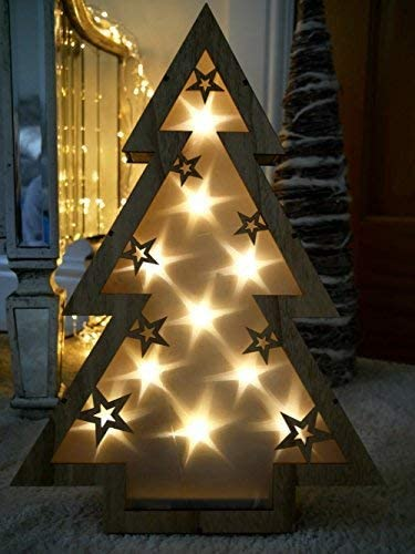 Garden Mile Rustic 40cm Light Up Battery Operated Wooden Table Top Christmas Tree With Floating 3d Stars In Warm White Hologram Led Lights Shabby Chic Xmas Table Decoration Ornament Amazon Co Uk Lighting