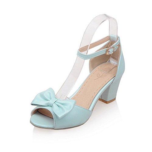 AllhqFashion Mujeres Puntera Abierta Tacón ancho Hebilla Sólido Sandalias de vestir con Lazos Azul