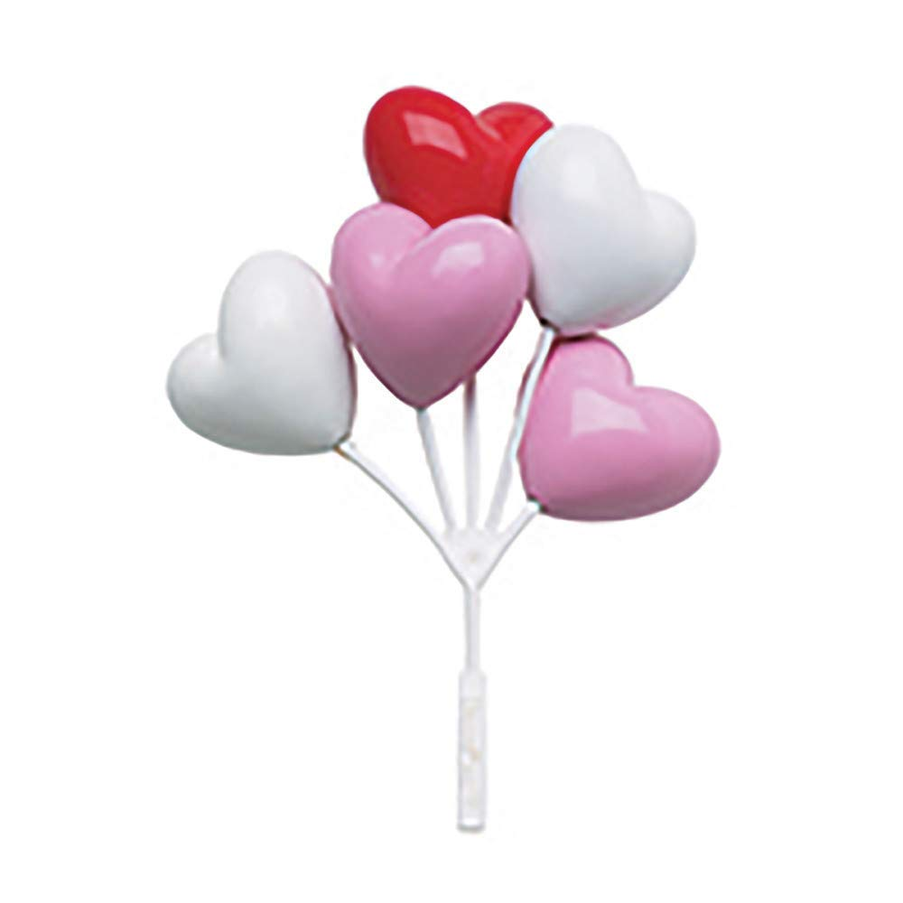 Baking Addict Cupcake Topper Decorations Cake Pop Dessert Decorating Picks Balloons Heart/Red/Pink/Wht, Wholesale Case of 360 (10 Packs of 36)