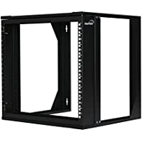 NavePoint 9U Wall Mount IT Open Frame 19 Rack with Swing Out Hinged Gate Black