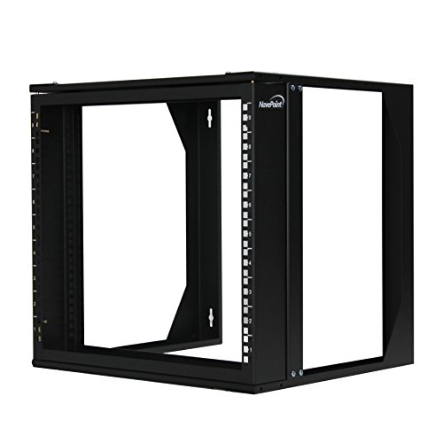 """Price comparison product image NavePoint 9U Wall Mount IT Open Frame 19"""" Rack with Swing Out Hinged Gate Black"""