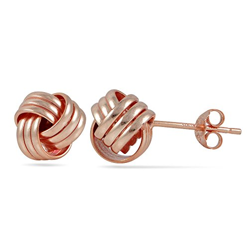 Hoops & Loops Rose Gold Flash Sterling Silver Polished Love Knot Stud Earrings (Love Knot Polished)