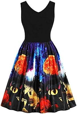 Igemy---- Vestido de Mujer sin Mangas, Vintage, diseño de Calabazas, para Halloween, Noche o graduación