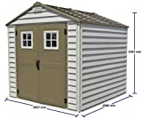 Duramax StoreMax 7 Ft. x 7 Ft. Vinyl Garden Storage Shed | Made of Fire Retardant PVC Resin, All-Weather, Waterproof Outdoor Solution, Store Bikes, Tools, BBQ, Home Gym | Strong Structure, Maintenance-Free Building