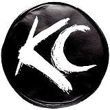 "KC HiLiTES 5117 6"" Round Black Vinyl Light Cover w/ White Brushed KC Logo - Set of 2"