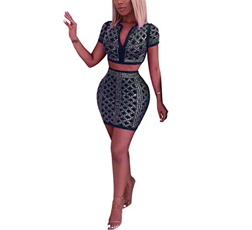 - Womens Rhinestone Two Piece Set Sexy Deep V Neck Sequin Halter Crop Top with Mini Skirt Bodycon Club Outfits