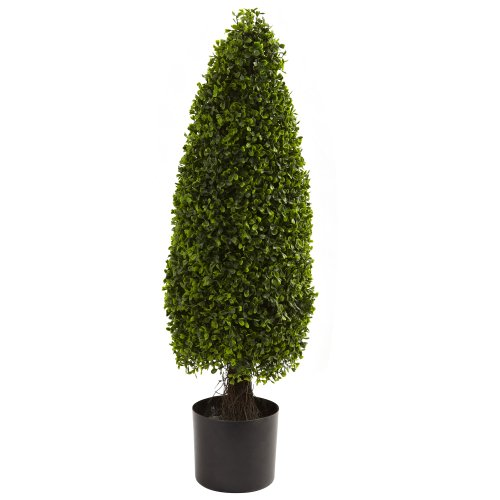 Nearly Natural 5412 Boxwood Tower Topiary UV Resistant Tree, 3-Feet, Green by Nearly Natural