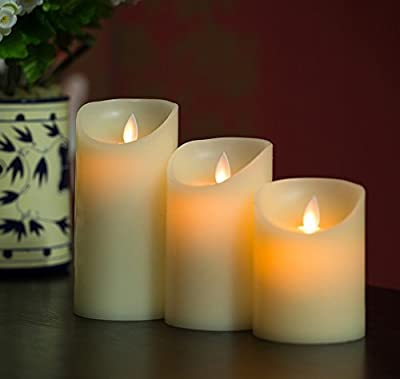"""Remote Ready Set 3 Pieces (3""""D x 4""""/5""""/6""""H) Moving Flame Wick Real Wax Pillar Candle with Timer, NOT Luminara but same flame effect"""