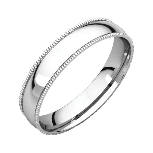 Jewels By Lux Platinum 4mm Milgrain Light Comfort Fit Wedding Ring Band Size 10 ()