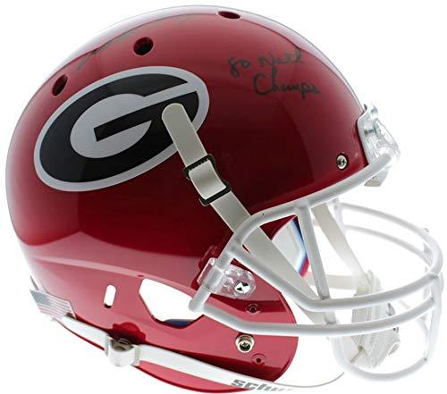 Herschel Walker Georgia Bulldogs Autographed Signed Schutt Full Size Replica Helmet with 80 Natl Champs Inscription w/Black Marker - Beckett Certification