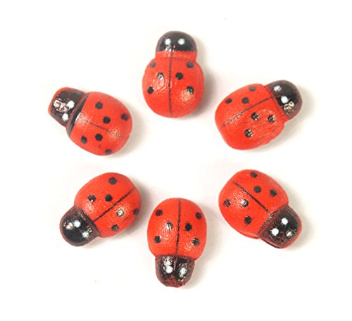 ALL in ONE Self-Adhesive Wooden Ladybug for DIY Craft Home Decoration (9X13MM)