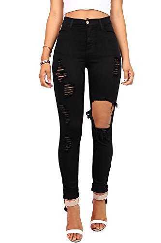 Vibrant Pink Ice Women's Juniors Ripped New High Rise Skinny Jeans, Black, 11