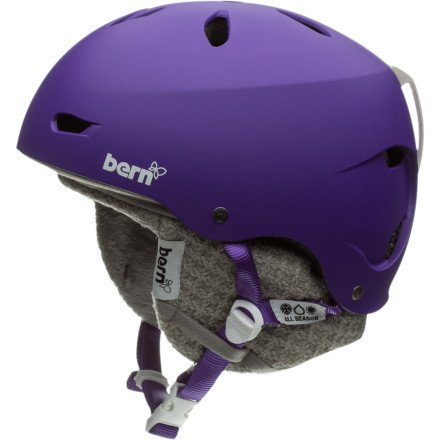 Bern Brighton Hard Hat with Knit Liner – Women's Matte Purple/Grey Knit, L, Outdoor Stuffs