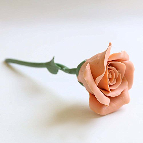 - Valentine's Day Better-Way Ceramic Covered Flowers and Leaves Single Stem Rose Handmade Porcelain Rose Flower Wedding Love Forever (Orange)