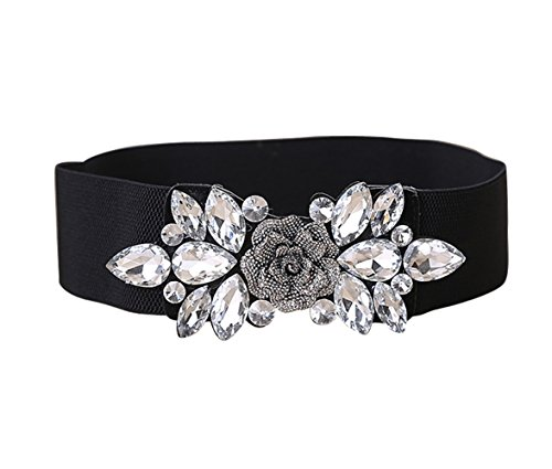 E-Clover Fashion Floral Rhinestone Buckle Women's Elastic Waist Cinch Belt for Dress (White01 stones, black belt)