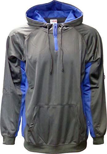 SPECIEN Adult Hooded Pullover Performance Sweatshirt Hoodie Jacket with Quarter Zipper & Moisture-Wicking Management (Charcoal/Royal Blue, Medium)