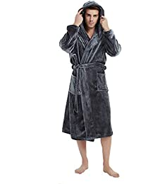 b08378e7f8 Mens Fleece Hooded Robe Plush Bathrobe