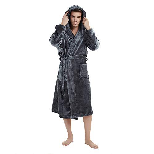 U2SKIIN Mens Fleece Hooded Robe Plush Bathrobe (Dark Grey, L/XL) -