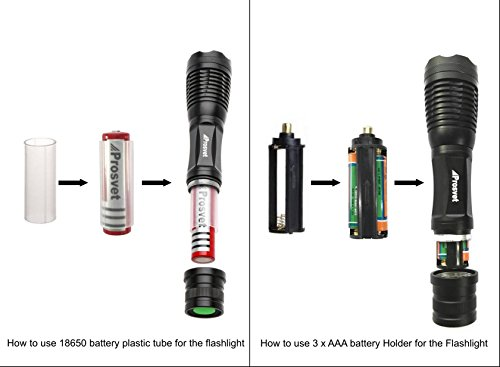 Prosvet E6 1200 Lumen Cree XML T6 led Portable Zoomable Flashlight 5 Mode Adjustable Focus Water Resistant Free Candle lantern dome Accessory Included