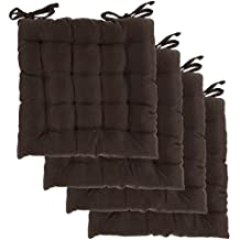 Dream Home, Set of 4, Indoor Chair Pads Inches Square Tufted Seat Cushions Pillows With Ties