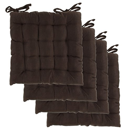 Dream Home, Set of 4, Indoor Chair Pads Inches Square Tufted Seat Cushions Pillows With Ties - Dining Chair Pillows
