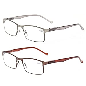 Kerecsen 2-Pack Metal Reading Glasses Stainless Steel Material Spring Hinge Readers