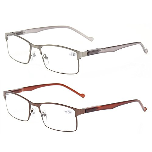 (Kerecsen 2-Pack Metal Reading Glasses Stainless Steel Material Spring Hinge Readers (1 Silver 1Bronze, 1.00))