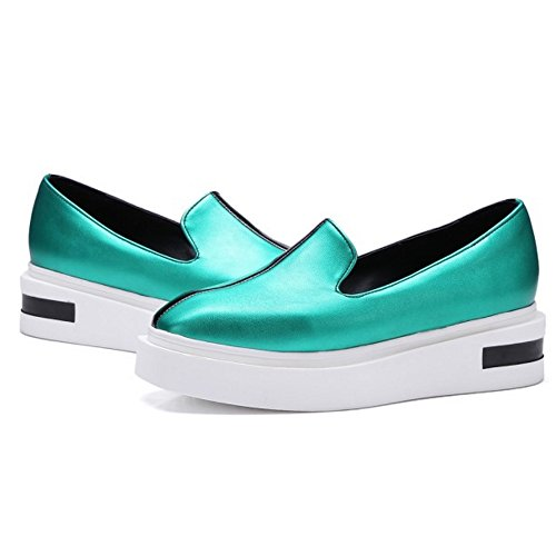 COOLCEPT Women Fashion Slip On Court Shoes Flatform Pumps Close Toe Shoes Green lzGKqWmN1H