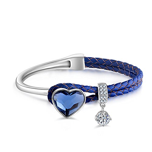 ZIOZIA Love Heart Bangle Made with Blue Swarovski Crystal Leather Bracelet Jewelry for Women Gifts for Mom