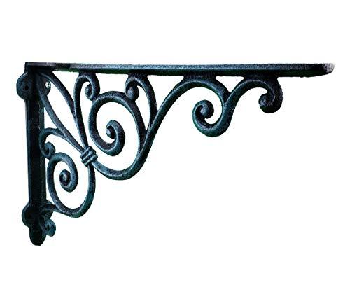 - Wall Shelf Bracket Ribbon Fleur De Lis Verdigris Cast Iron Brace 11.375