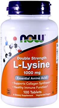 Now Foods L-Lysine 1000 mg Double Strength - 100 Tabs 2 Pack