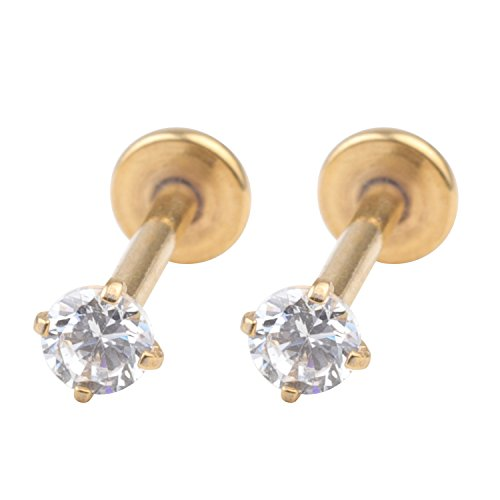 White Labret (Dress-Up Yourself 2 Pcs A Set 316L Stainless Steel 16G 3mm White Cz Nose Piercing Labret Monroe Lip Rings Ear Piercings Studs 10mm Bar Length Gold)