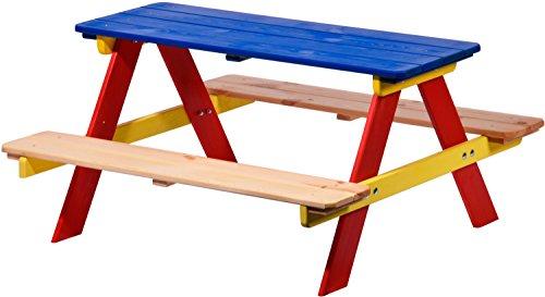dobar Kindersitzgarnitur für vier Kinder, als Sitzgarnitur mit Picknickbank oder Spielbank, FSC Holz, 90 x 85 x 45 cm, bunt