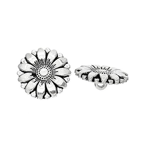 (HOUSWEETY 50PCs Silver Tone Sunflower Carved Sewing Metal Buttons Crafts 18mm)