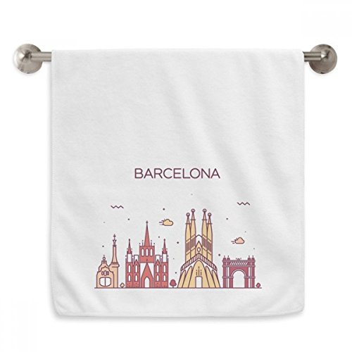 DIYthinker Barcelona Spain Flat Landmark Pattern Circlet White Towels Soft Towel Washcloth 13x29 Inch by DIYthinker