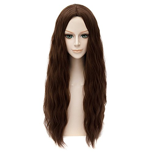 [Lanting Cosplay wig The Avengers 2 Scarlet Witch Brown Long Lolita Beauty Woman Anime Human Costume Full wigs Synthetic Hair Heat Resistant] (The Avengers 2 Scarlet Witch Costume)