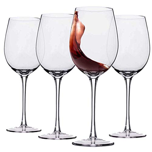 Hand Blown Italian Style Crystal Red or White Wine Glasses - Lead-Free Premium Crystal Clear Glass - Set of 4 - 18 Ounce - Safer Packaging for Any Occasion (Crystal Glasses Wine)