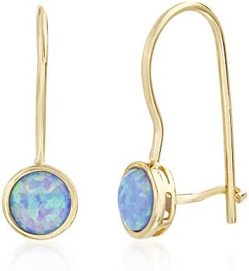 Sterling Silver Created Blue Opal Lever Back Earring
