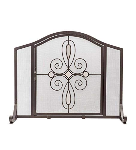 Plow & Hearth Small Florence Fireplace Screen with Door - 38''W x 11.5''D x 31''H - Bronze