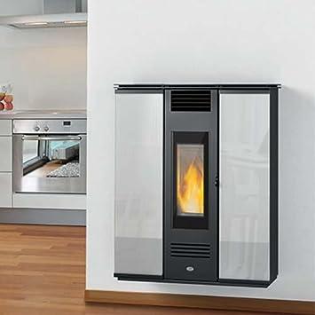 Estufa de pellets Erika Slim Eva calor 11 kW, cristal negro: Amazon.es: Hogar