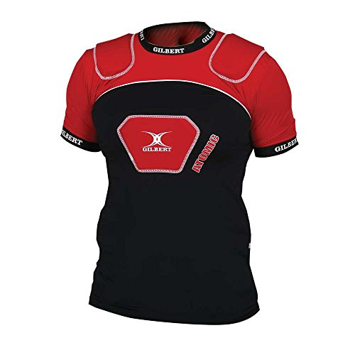 GILBERT Adult Atomic V2 Rugby Body Armour, Black/Red, L Atomic Rugby Body Armour