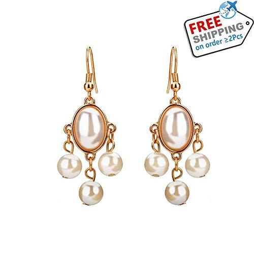 Chandelier Fringe Duster Earring, Pearl Drop Earrings Gold Plated Earring Dangle in the (Pearl Duster)