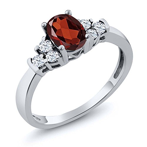 Gem Stone King Sterling Silver Oval Red Garnet White Topaz Jewelry Women s Ring 0.79 cttw Available 5,6,7,8,9