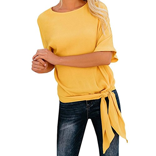 Clearance Sale! Wintialy Womens Casual Basic Knot Tie Front Loose Fit Half Sleeve Tee Top T-Shirt Blouse