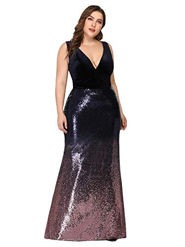 Ever-Pretty Womens Plus Size Double V-Neck Sexy Evening Dinner Party Dress for Women Purple US 18