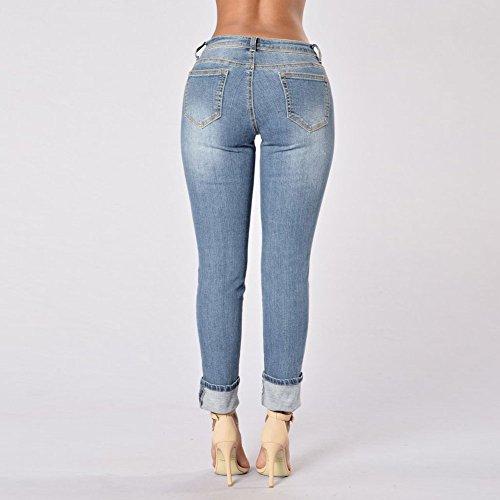 Lunghi Pantaloni Chiyeee Strappato Leggings Stretch Donna Sottili Denim Matita Azzurro Jeans xg8qP8wT
